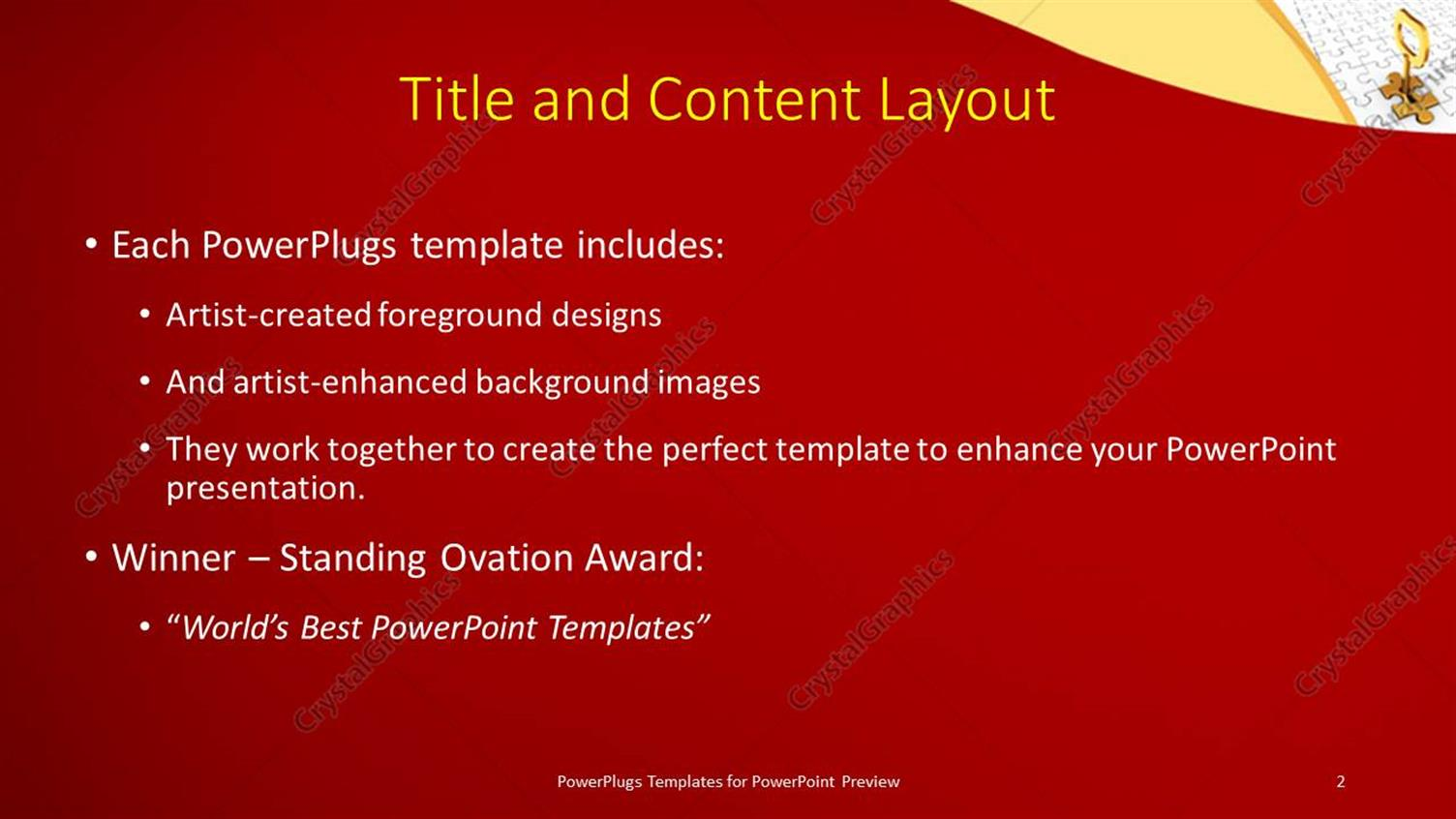 Powerpoint template red and yellow curves in front and jigsaw powerpoint products templates secure alramifo Image collections