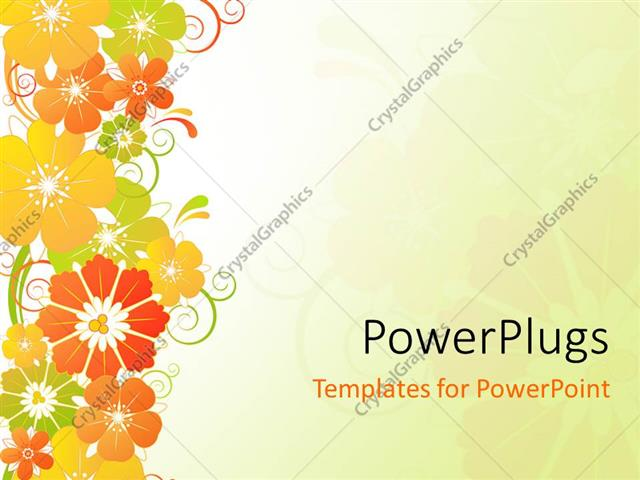 Powerpoint Template Red Yellow Orange And Green Flowers On Plain Off White Background 3343