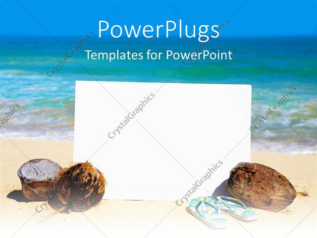 Powerpoint Template A Reflective White Board With Coconuts And A