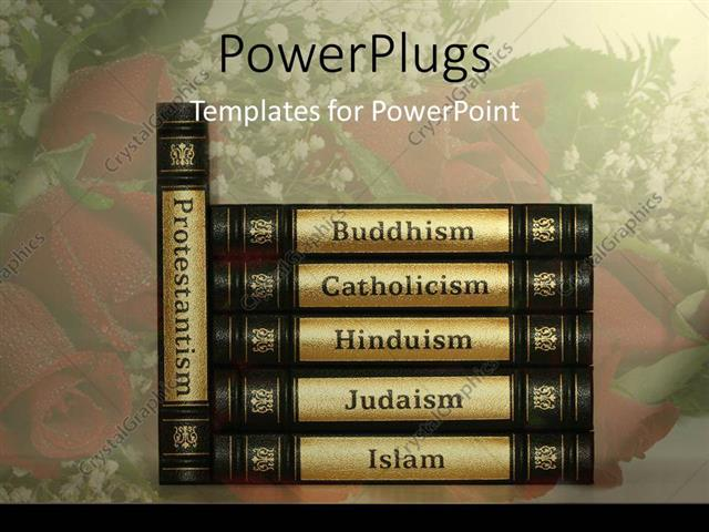 Powerpoint Template Religion Books With Black And Golden Covers