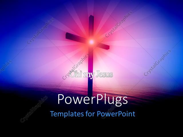 PowerPoint Template Displaying Religious Cross Glowing Over the Sea at Sunrise with Rays in Background
