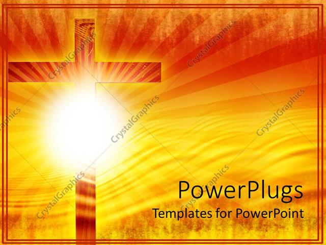 Powerpoint Template Religious Theme With Big Wooden Cross And Sun