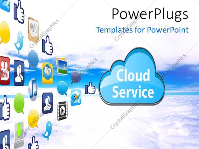 Powerpoint Template The Representation Of Cloud Computing With A