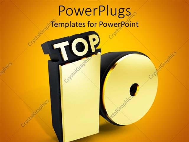 PowerPoint Template Displaying Representation of a Golden Top 10 with Golden Background