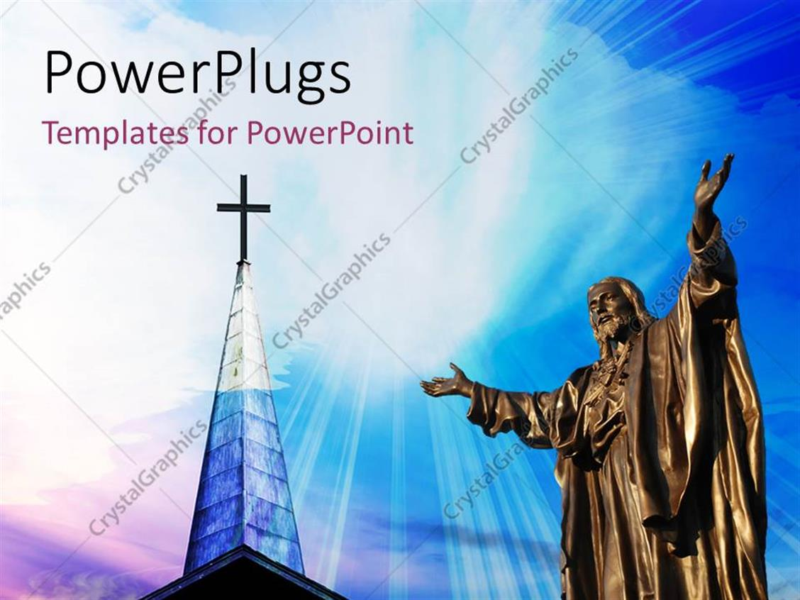 PowerPoint Template Displaying a Representation of Jesus with a Holy Cross in the Background