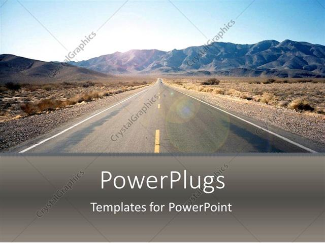 Powerpoint template road driving through nevada desert arid desert powerpoint template displaying road driving through nevada desert arid desert scenery with road and hills toneelgroepblik Choice Image