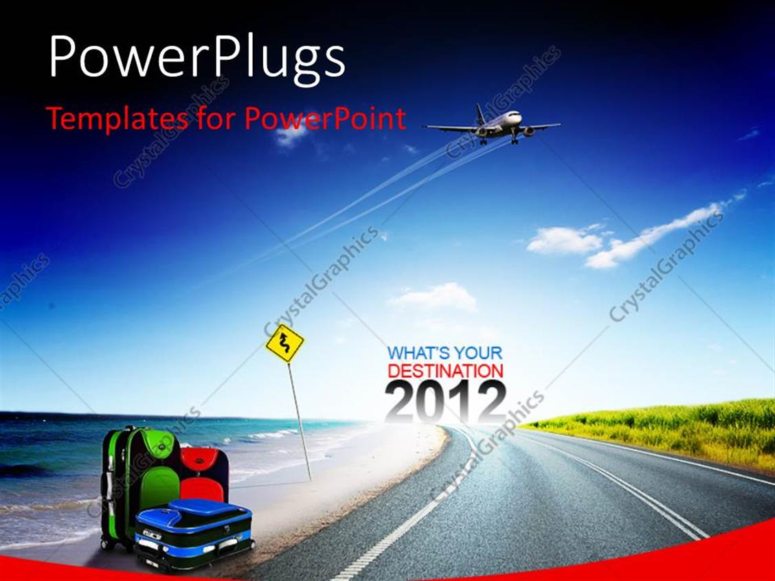 PowerPoint Template Displaying a Road Going Towards the New Year with Bluish Background