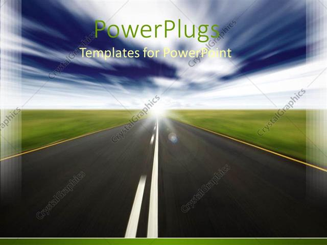 Powerpoint Template Road Grass Plains Cloudy Sky Blue And Green
