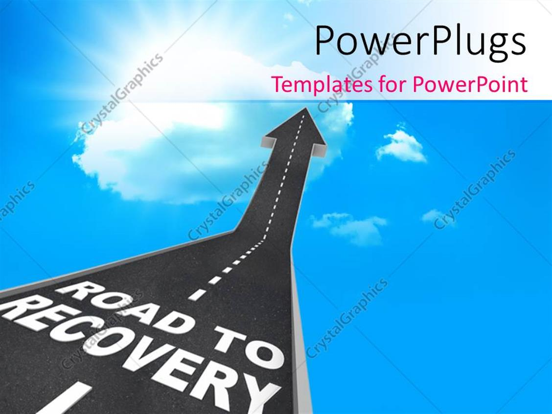 PowerPoint Template Displaying a Road Pointing Towards Recovery with Clouds in the Background