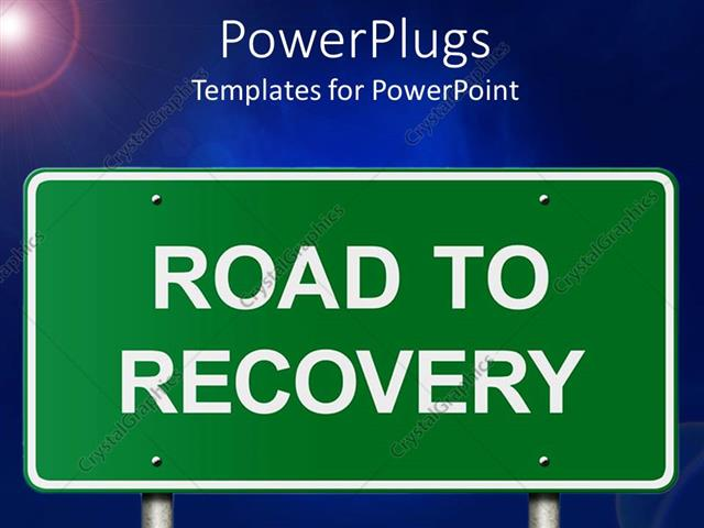 PowerPoint Template Displaying Road to Recovery Road Sign with Sunny Blue Background
