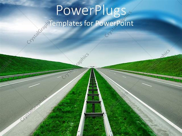 Powerpoint Template Road To Success Blue Sky Green Hills Empty High