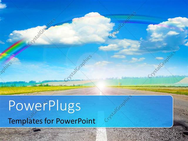 PowerPoint Template Displaying Road Through Green Field with Rainbow in Blue Cloudy Sky