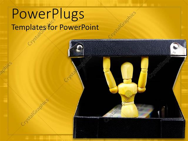 PowerPoint Template Displaying Robot-like Mannequin Inside a Black Box in Yellow Background