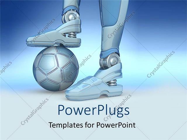 Powerpoint template a robot with football under its feet with powerpoint template displaying a robot with football under its feet with bluish background toneelgroepblik Gallery