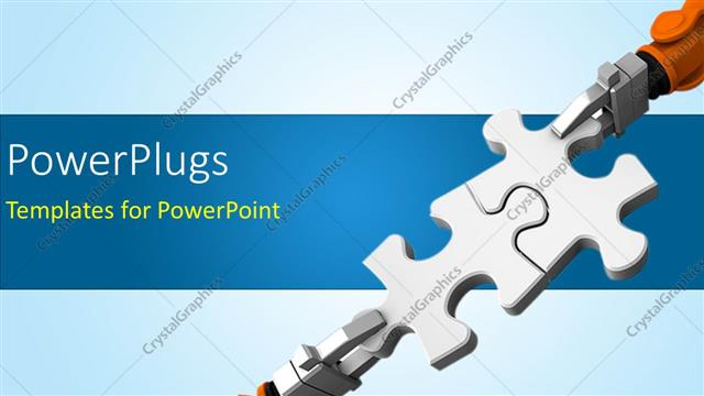 Powerpoint Template Robot Holding Jigsaw Puzzle Piece On A Blue