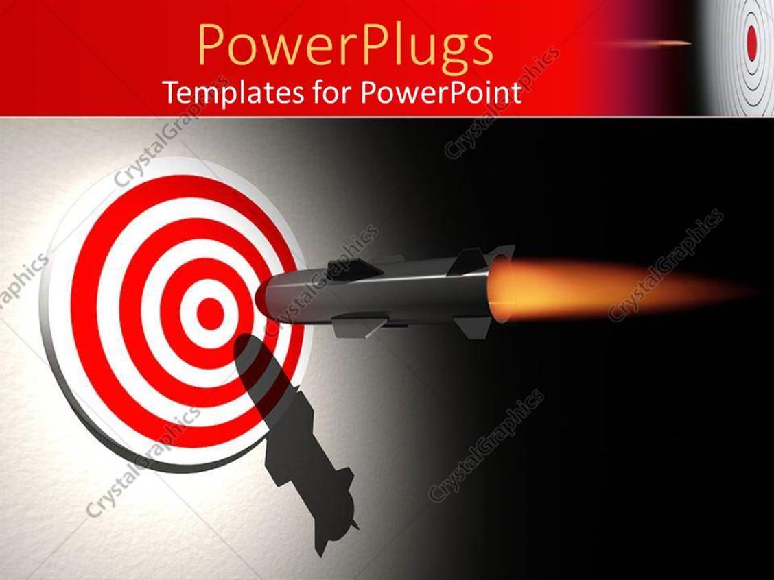 Powerpoint Template Rocket Aiming The Center Of A Bullseye Target