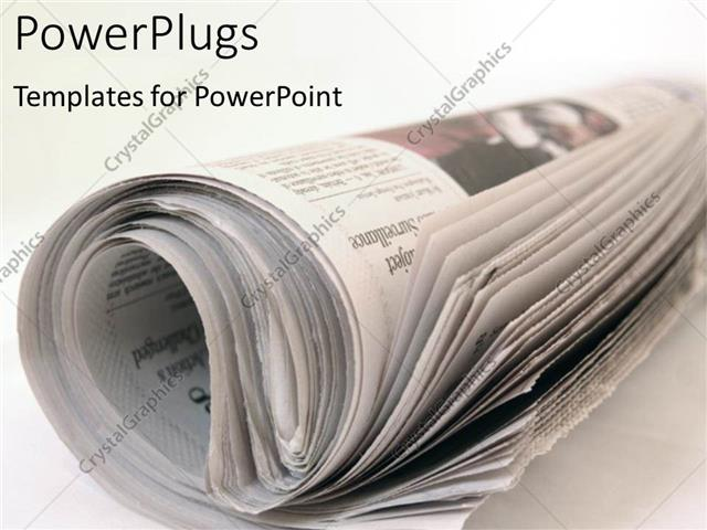 Powerpoint Template Rolled Newspaper On Plain White Desk 22369
