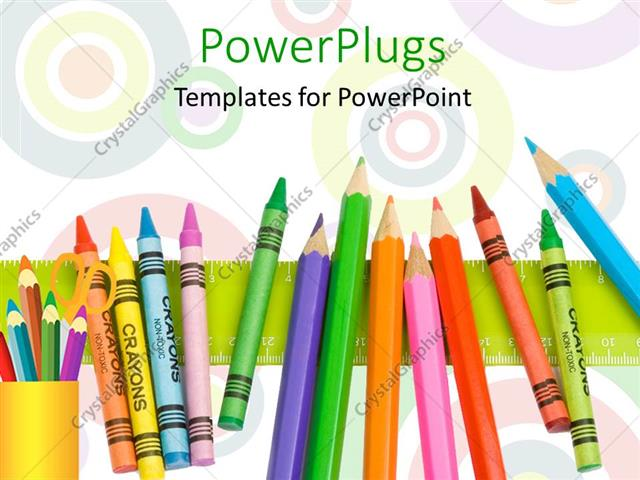 Powerpoint template row of colorful crayons on green ruler with powerpoint template displaying row of colorful crayons on green ruler with circles in background toneelgroepblik Image collections