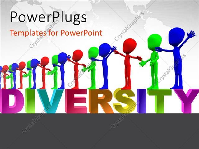 Powerpoint template row of colorful figures representing powerpoint template displaying row of colorful figures representing multiculturalism and diversity toneelgroepblik Images