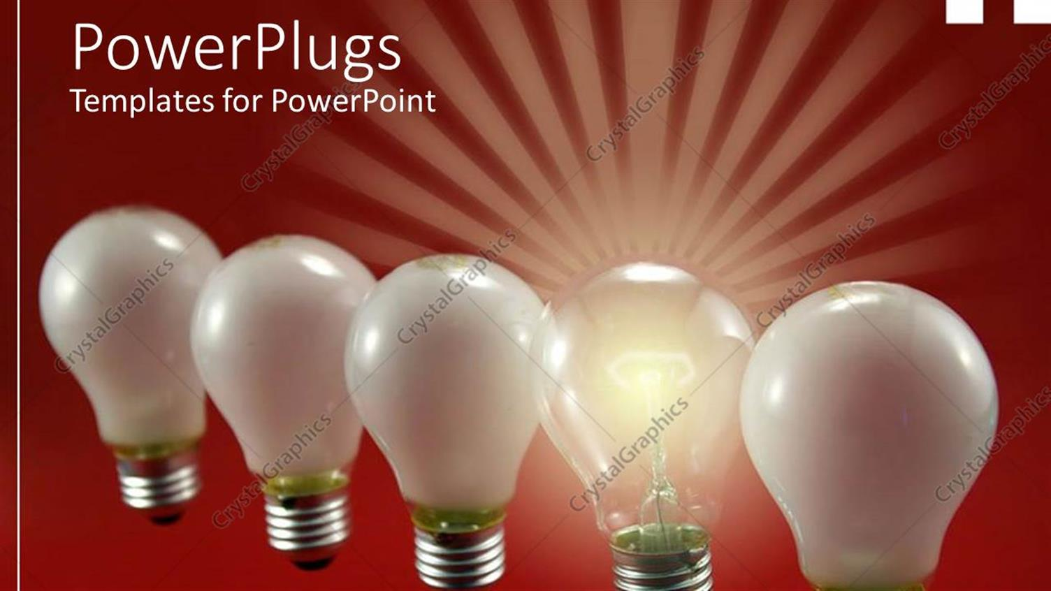PowerPoint Template Displaying Row of Light Bulbs with One Distinct Bulb Glowing