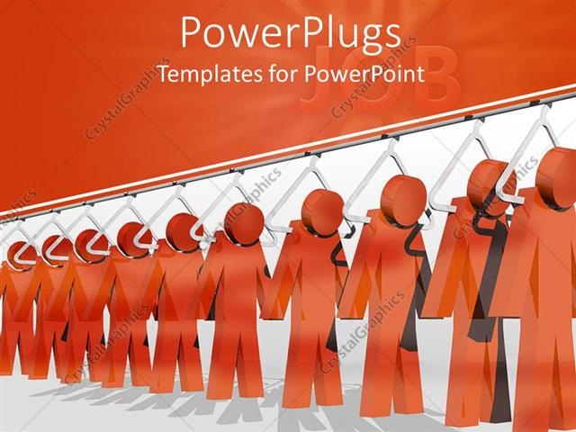Powerpoint template row of red figures on white hangars assembly powerpoint template displaying row of red figures on white hangars assembly line job toneelgroepblik Images