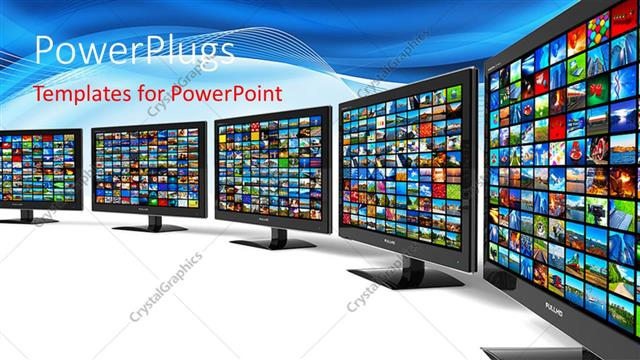 PowerPoint Template Displaying Five Screens with Lots of Tiles in it and Objects
