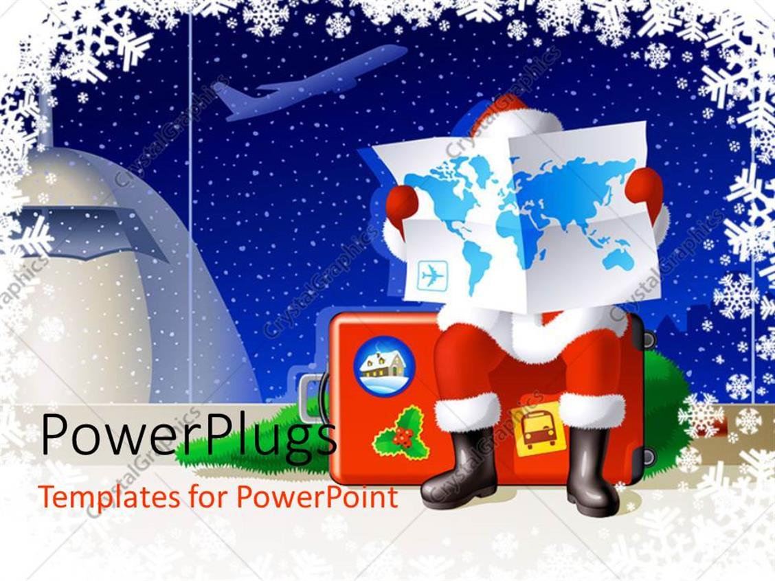 PowerPoint Template Displaying a Santa Reading the Map of the World with Airplane in the Background