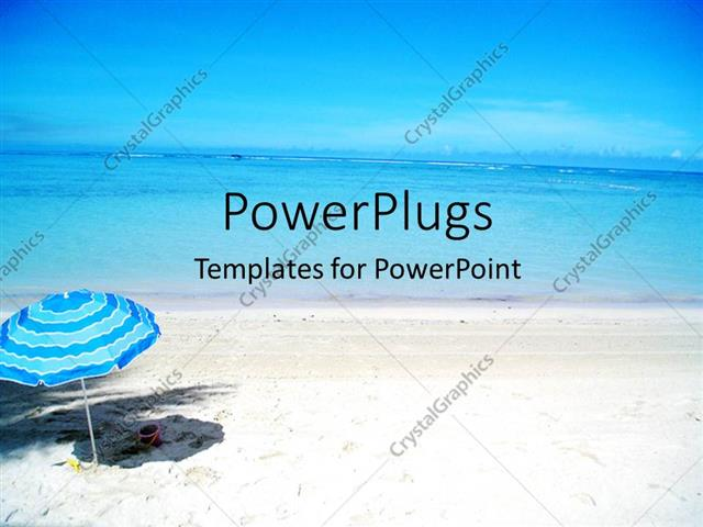 Powerpoint template scenery of beautiful beach with cute blue powerpoint template displaying scenery of beautiful beach with cute blue umbrella in beach sand toneelgroepblik Image collections