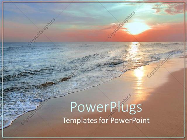 Powerpoint template scenery of beautiful beach with sunset in powerpoint template displaying scenery of beautiful beach with sunset in horizon reflecting on sea waves toneelgroepblik Image collections