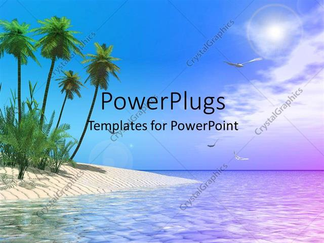 Powerpoint template scenery of tropical beach with palm trees and powerpoint template displaying scenery of tropical beach with palm trees and birds soaring in sky toneelgroepblik