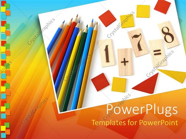 Powerpoint Template School Items On A Blank Paper Colorful