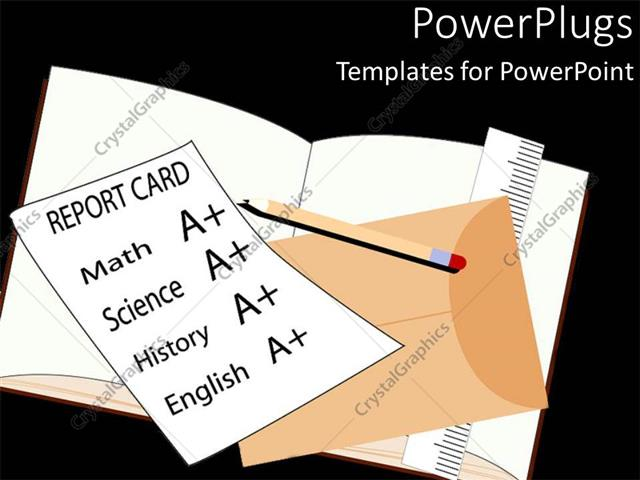 Powerpoint template school report card with a grades on math powerpoint template displaying school report card with a grades on math science history and english toneelgroepblik Choice Image