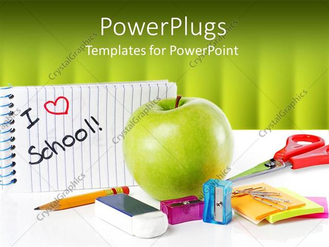 Powerpoint template school supplies with apple and message i love powerpoint template displaying school supplies with apple and message i love school on green background toneelgroepblik Images