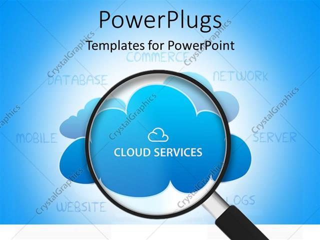 Powerpoint Template Search Glass Looking Into Cloud Services 7448