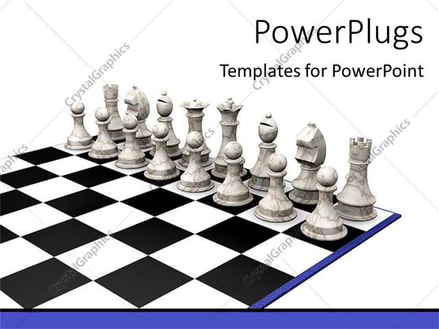 PowerPoint Template: Set of ash chess pieces on a chess beard (14355)