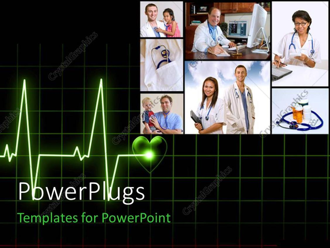PowerPoint Template Displaying Seven Tiles Showing Doctors and Nurses Attending to Patients
