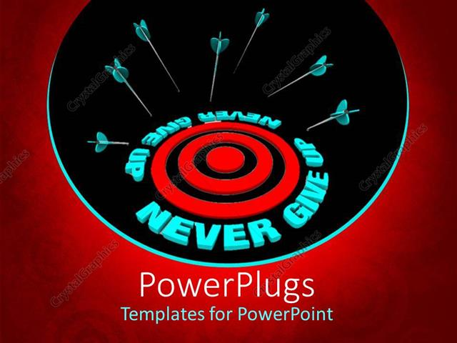 Powerpoint template several target arrows missing the center mark powerpoint template displaying several target arrows missing the center mark with text never give up toneelgroepblik Images