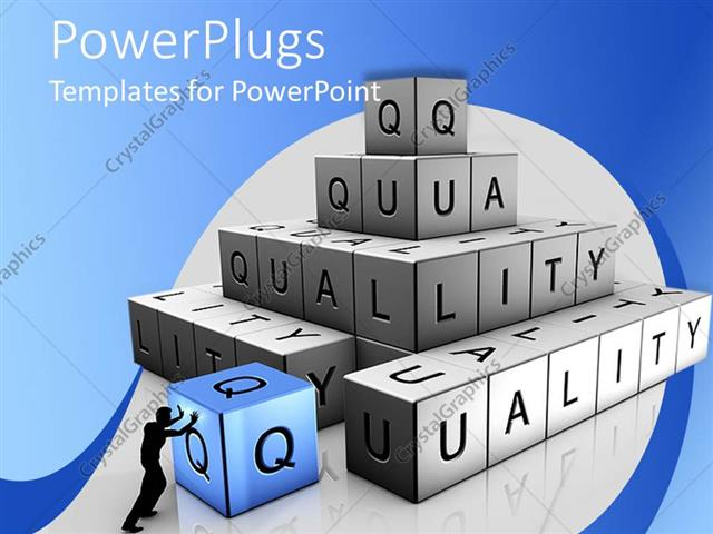 Powerpoint template shadow of man stacking bricks to spell quality powerpoint template displaying shadow of man stacking bricks to spell quality with blue and white toneelgroepblik Images