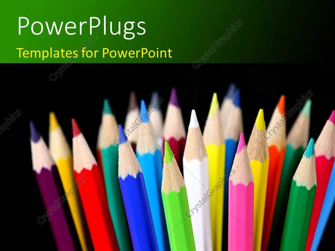 PowerPoint Template Displaying Sharpened Pencils of Different Colors Over Black Background