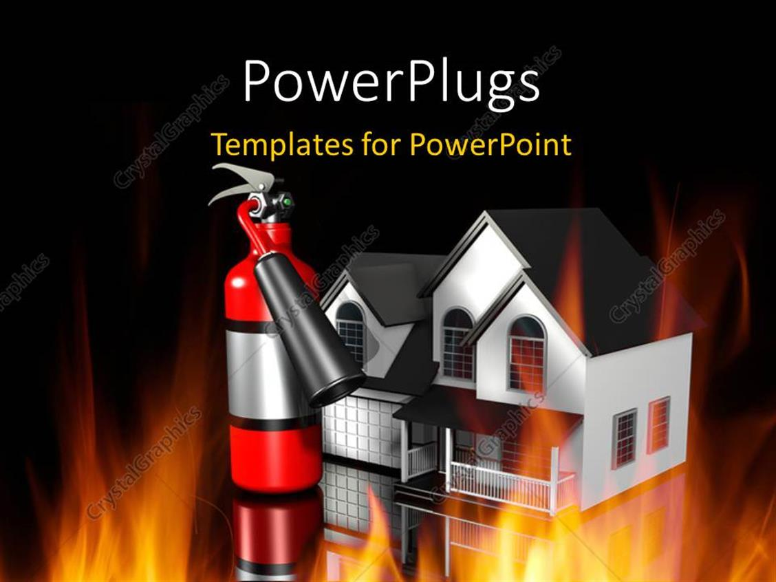 PowerPoint Template Displaying Shinny Fire Extinguisher Beside House and Depiction of Fire
