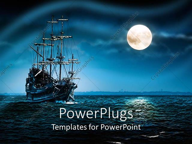 Powerpoint template a ship of pirates in a sea with moon for Pirate ship sails template
