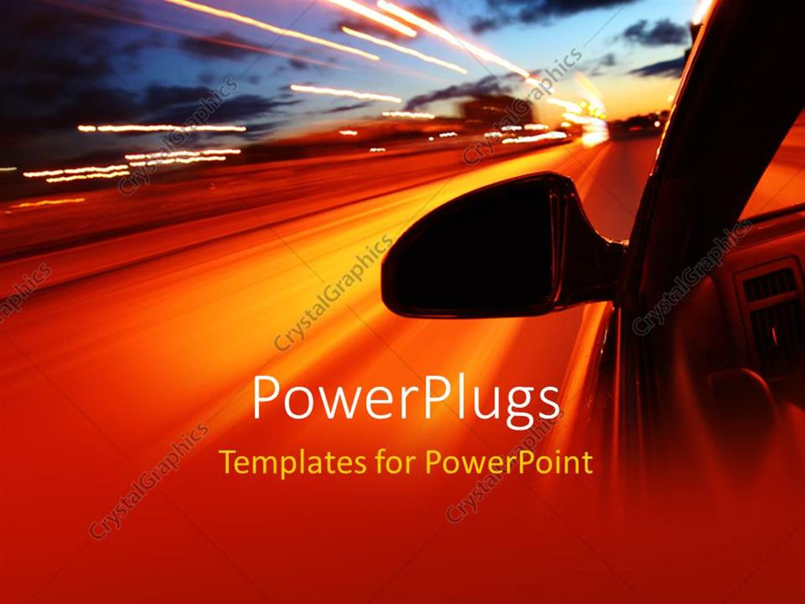 PowerPoint Template Displaying a Side View of a Fast Moving Car with Bright Street Lights