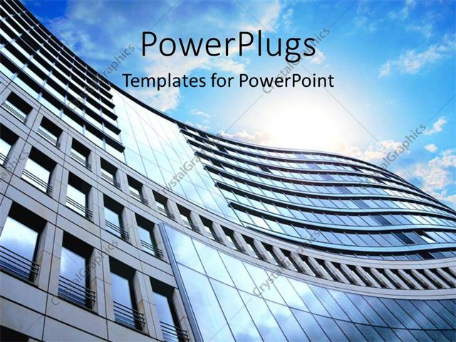 Powerpoint Template A Side View Of A High Building And A Clear Sky