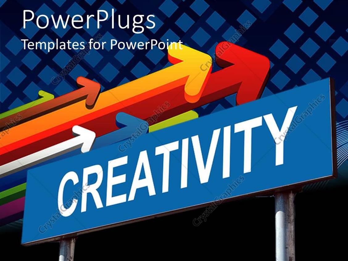 PowerPoint Template Displaying Sign Post Reads Creativity with Several Colored Arrows Pointing in a Direction