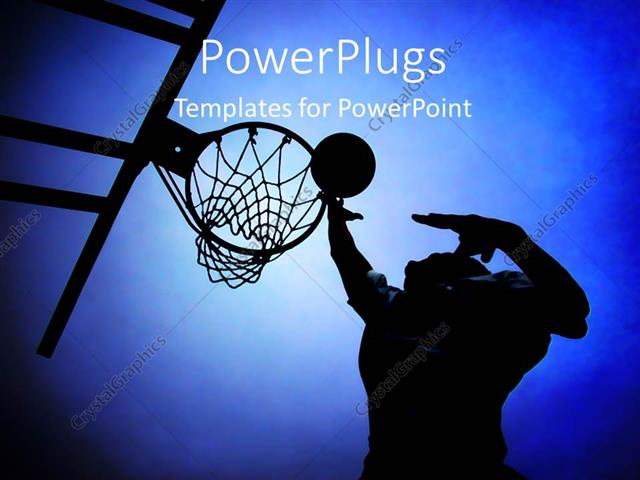 Powerpoint Template Silhouette Of Basketball Player In Court Rising