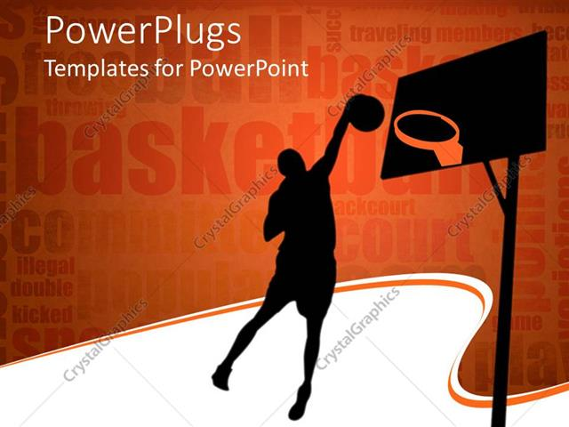 PowerPoint Template: silhouette of basketball player throwing ball ...
