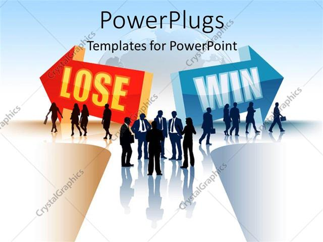 PowerPoint Template Displaying Silhouette of Business People Threading LOSING and WINNING Path