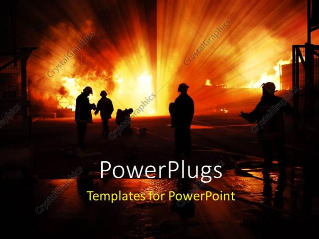 powerpoint template silhouette of firefighters with fire 12308