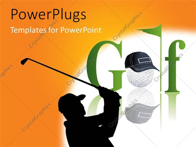 Powerpoint Template A Silhouette Of A Golf Player With A
