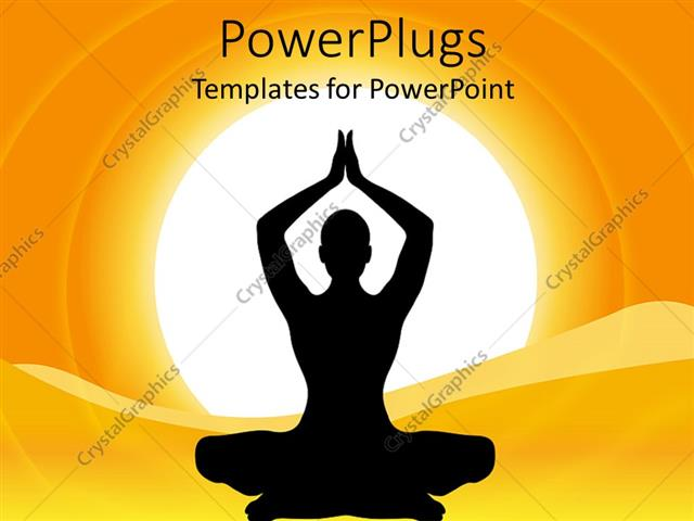 Powerpoint template a silhouette lady performing yoga over a sun powerpoint template displaying a silhouette lady performing yoga over a sun background toneelgroepblik Image collections